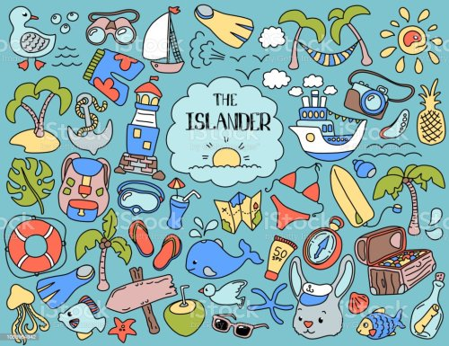 small resolution of tropical island summer vacation colorful clipart vintage vector illustrations nautical logo set summer