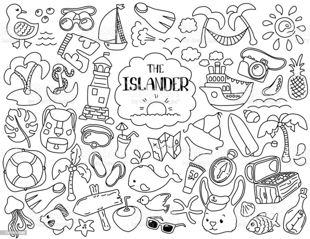 medium resolution of tropical vacation and marine travel clipart black line vector illustrations on white background royalty