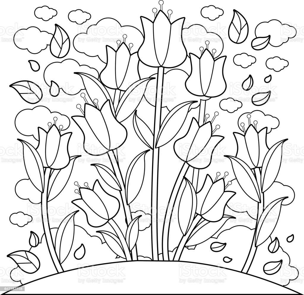 Malvorlage Tulpe Einfach - Zeichnen und Färben