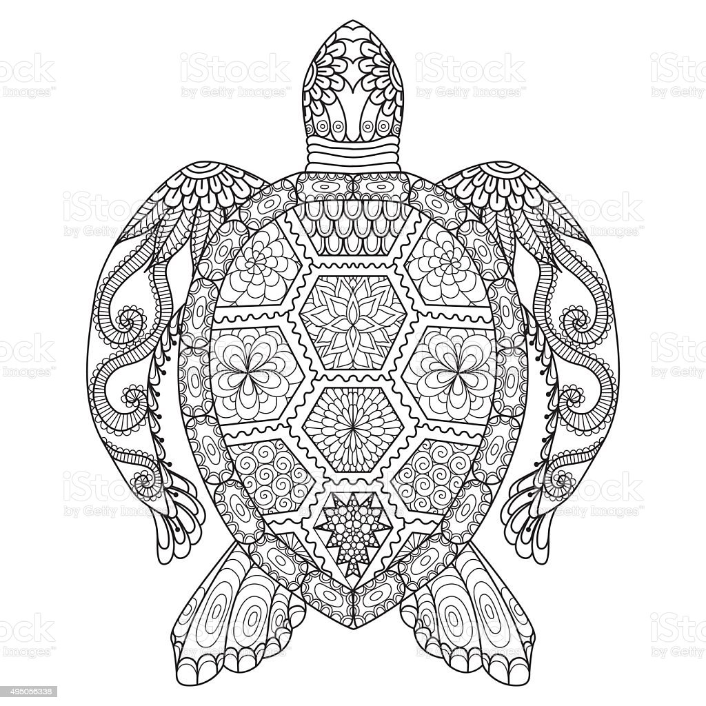 Turtle Coloring Page Stock Vector Art & More Images of