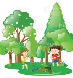 two boys raking leaves in forest illustration  [ 1024 x 903 Pixel ]
