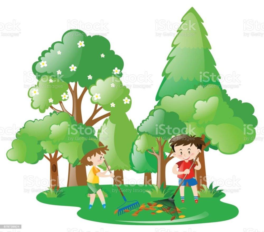 medium resolution of two boys raking leaves in forest illustration
