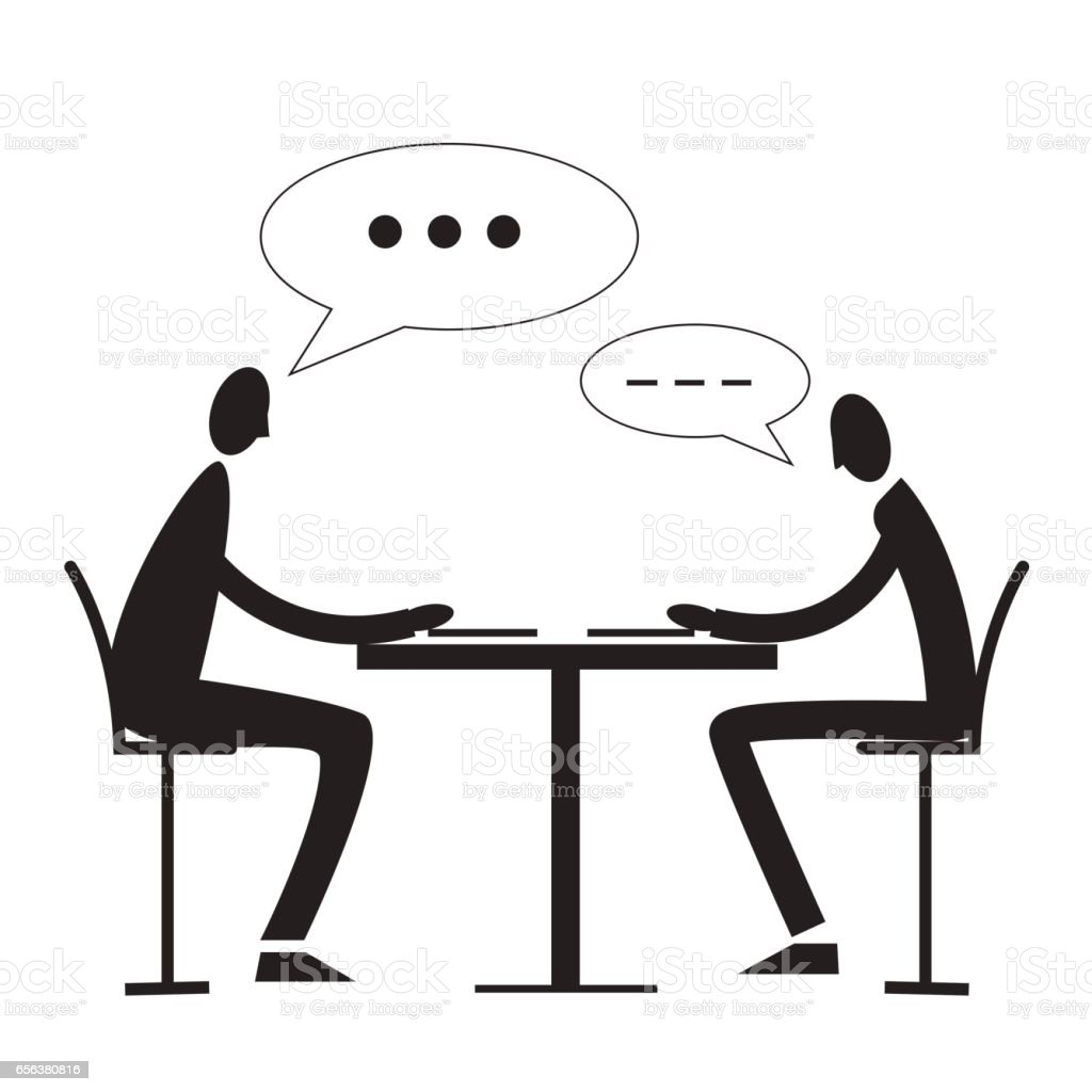 Two Person Sitting At A Table And Speaking Stock Vector