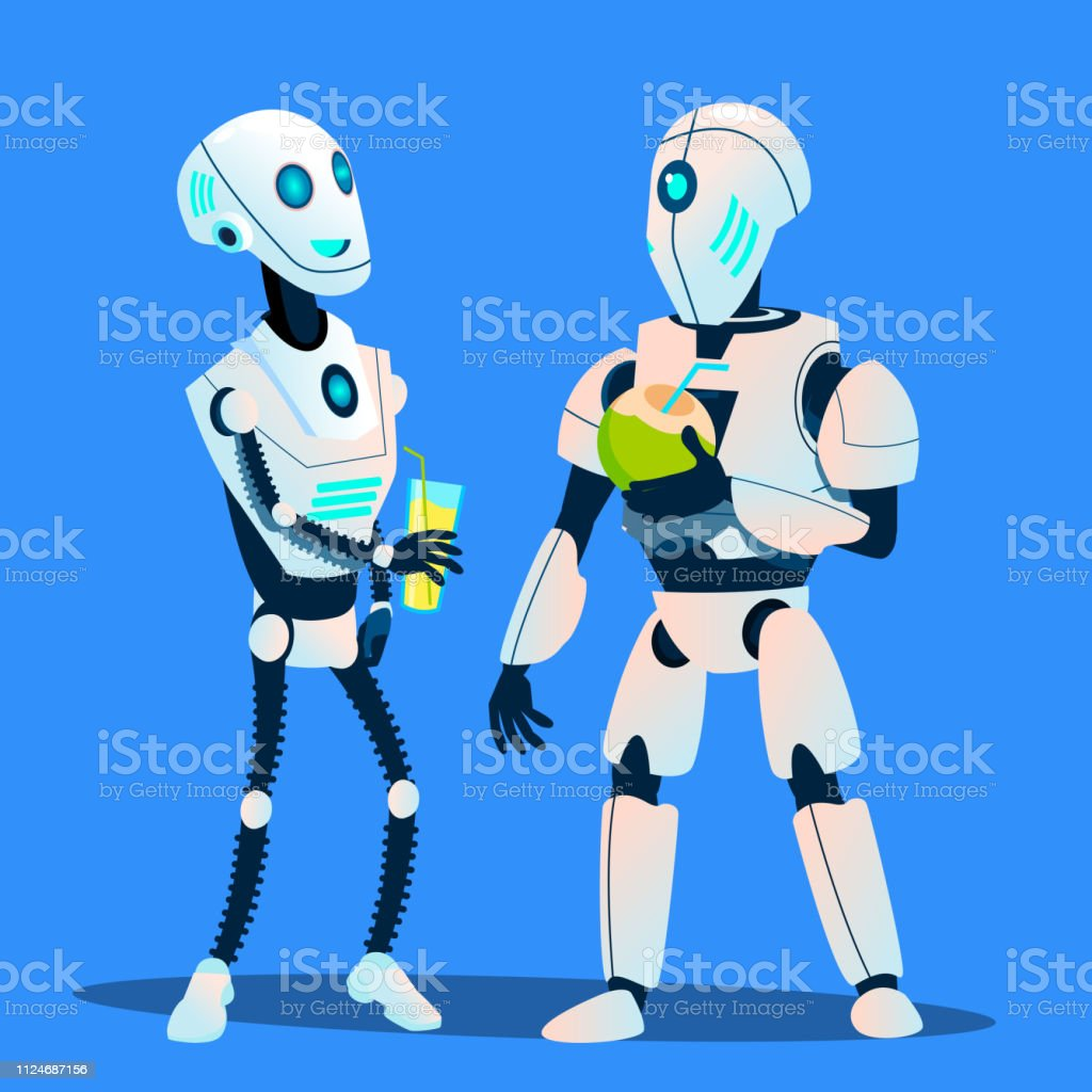 two robots drinking cocktails