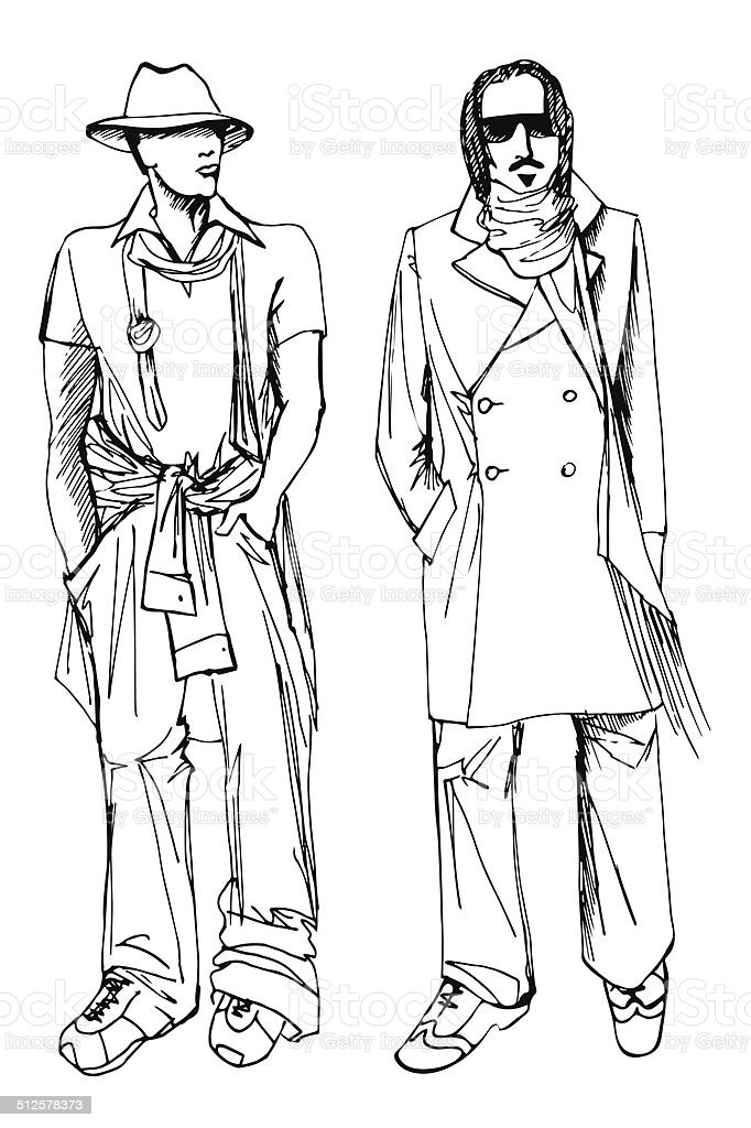 Two Stylish Dude Men Fashion Vector Sketch stock vector