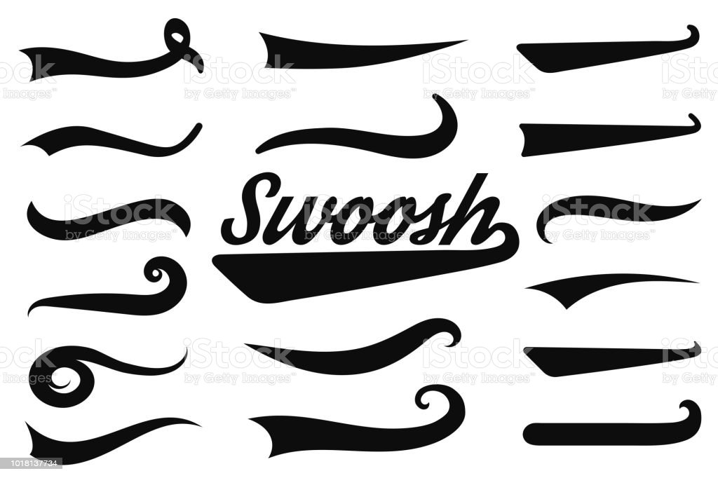 Typographic Swash And Swooshes Tails Retro Swishes And