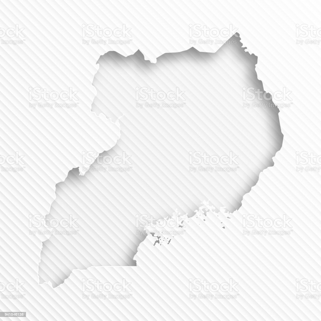 Uganda Map With Paper Cut On Abstract White Background