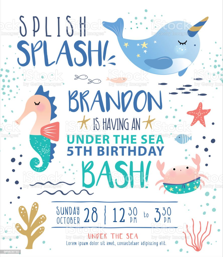 under the sea birthday party invitation card stock illustration download image now istock