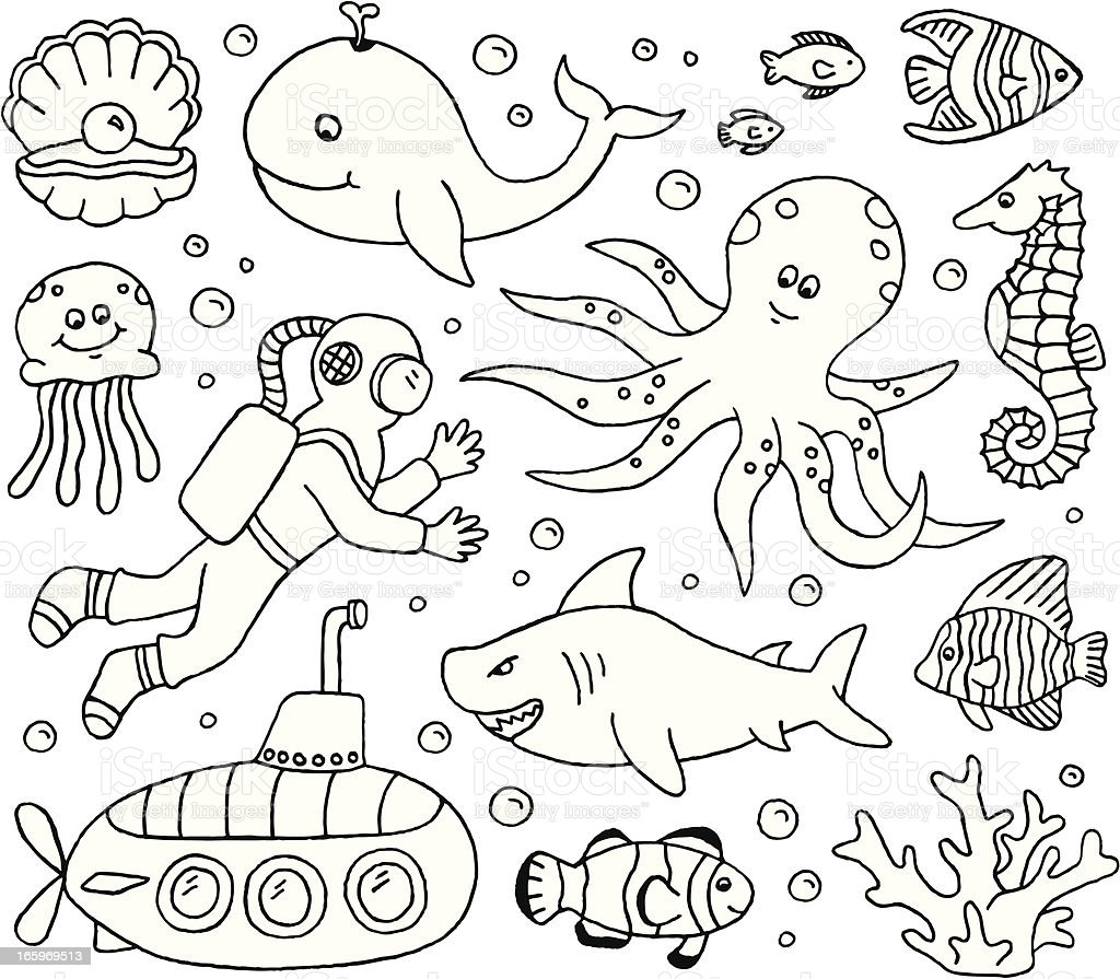 Under The Sea Doodles Stock Vector Art & More Images of