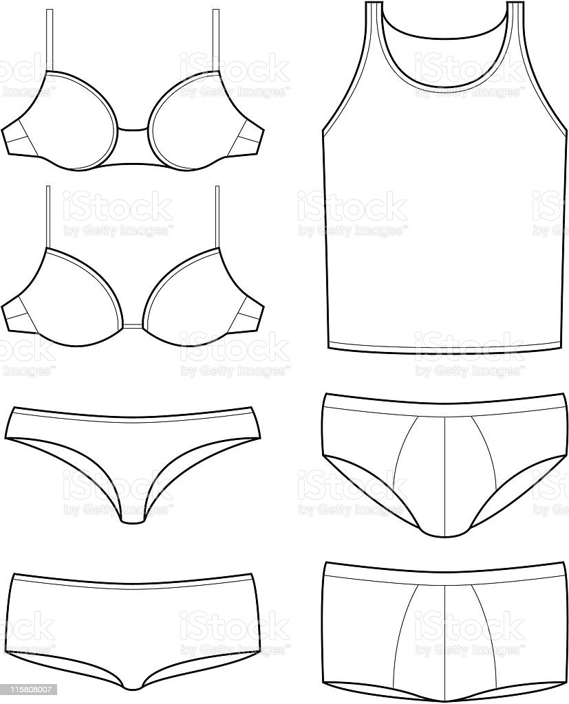 Underwear Templates Stock Vector Art & More Images of