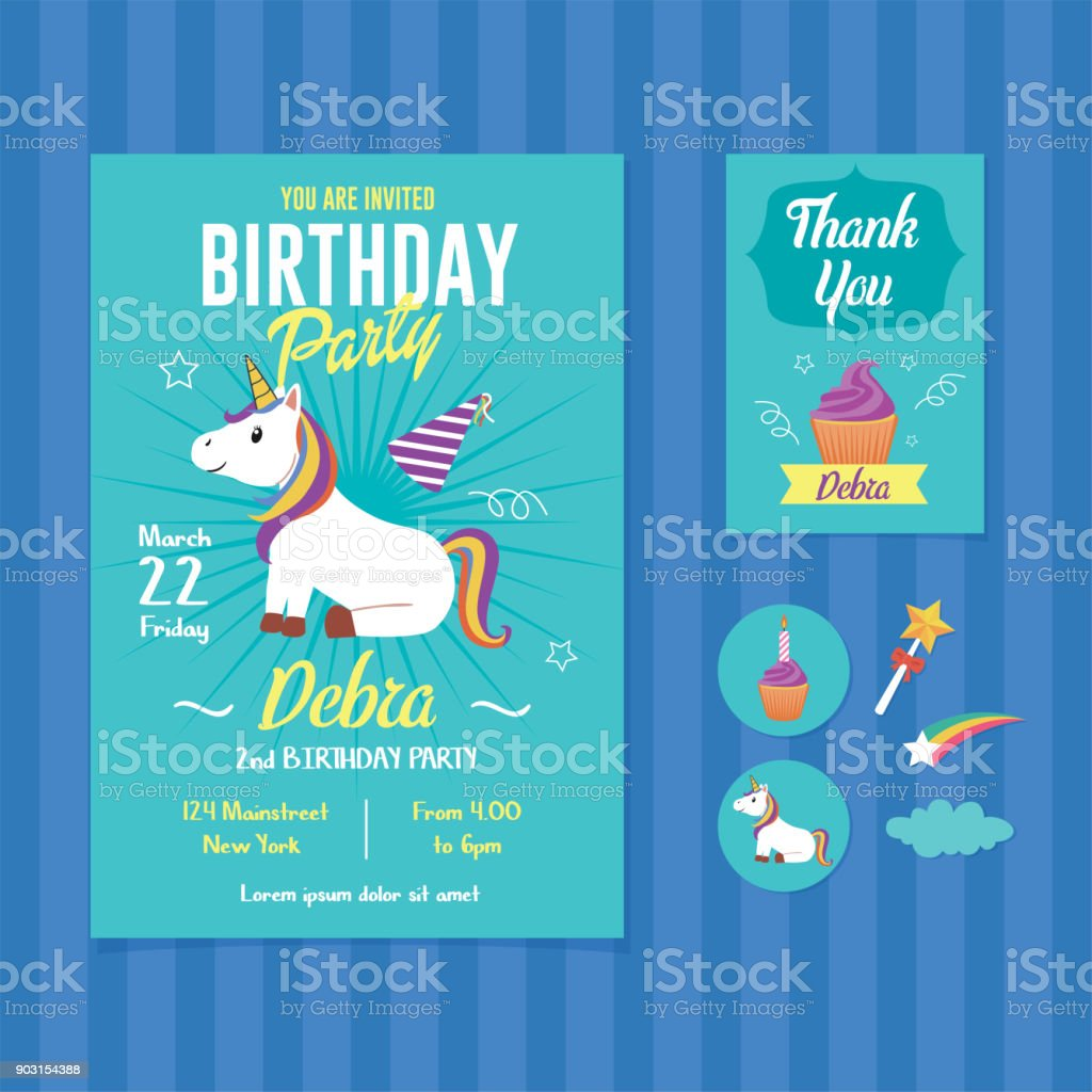 unicorn birthday party invitation template stock illustration download image now istock