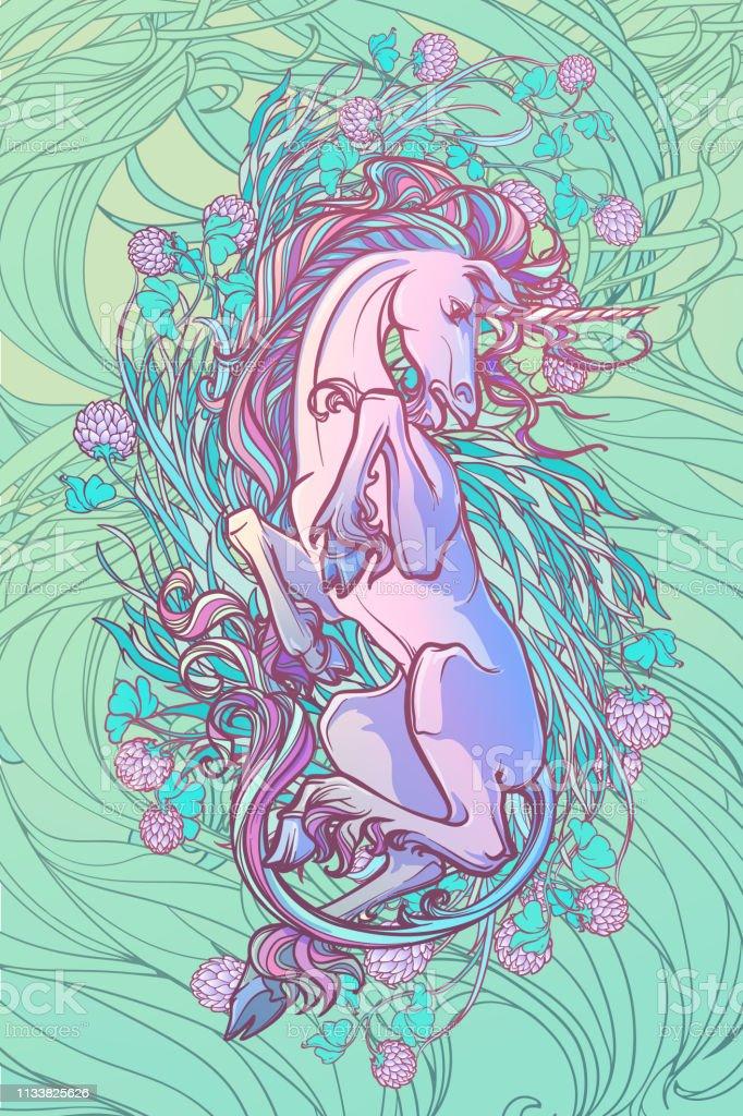 Ilustración De Unicornio Acostado Sobre Su Espalda Arte Conceptual