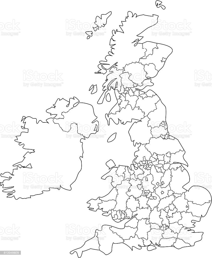 Mapa Del Reino Unido En Blanco