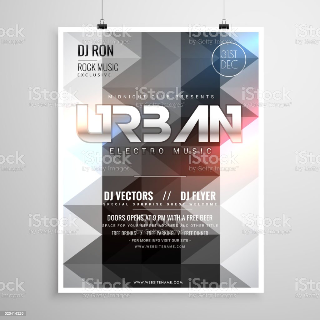 Urban Music Party Flyer Template With Abstract Geometric Shapes  Royalty-Free Urban Music Party Flyer