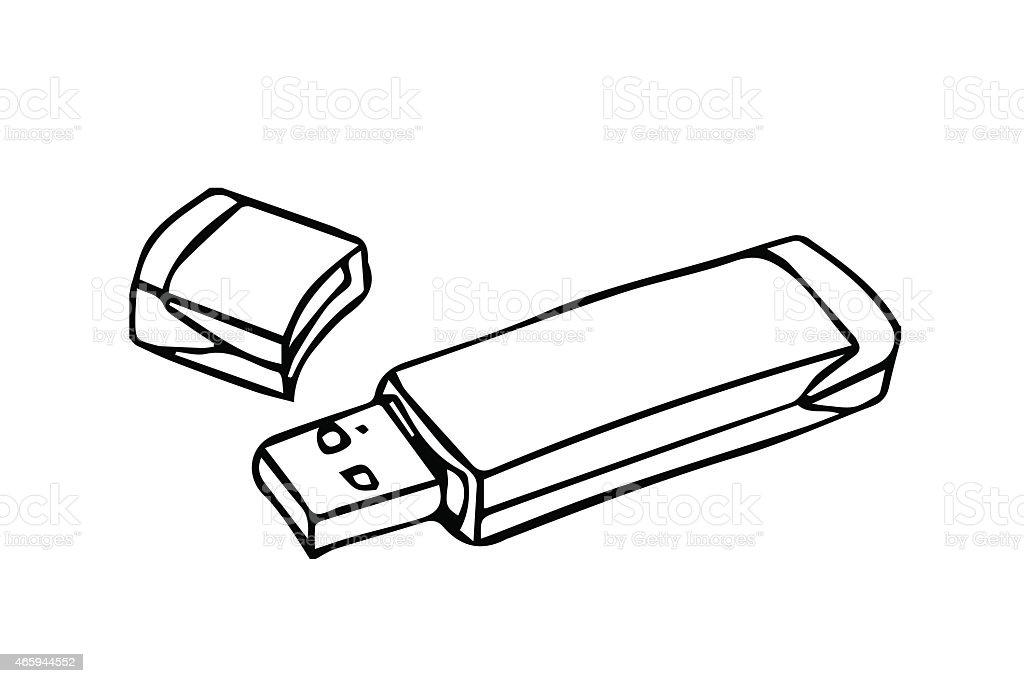 Usb Flash Drive Outline Stroke Stock Illustration