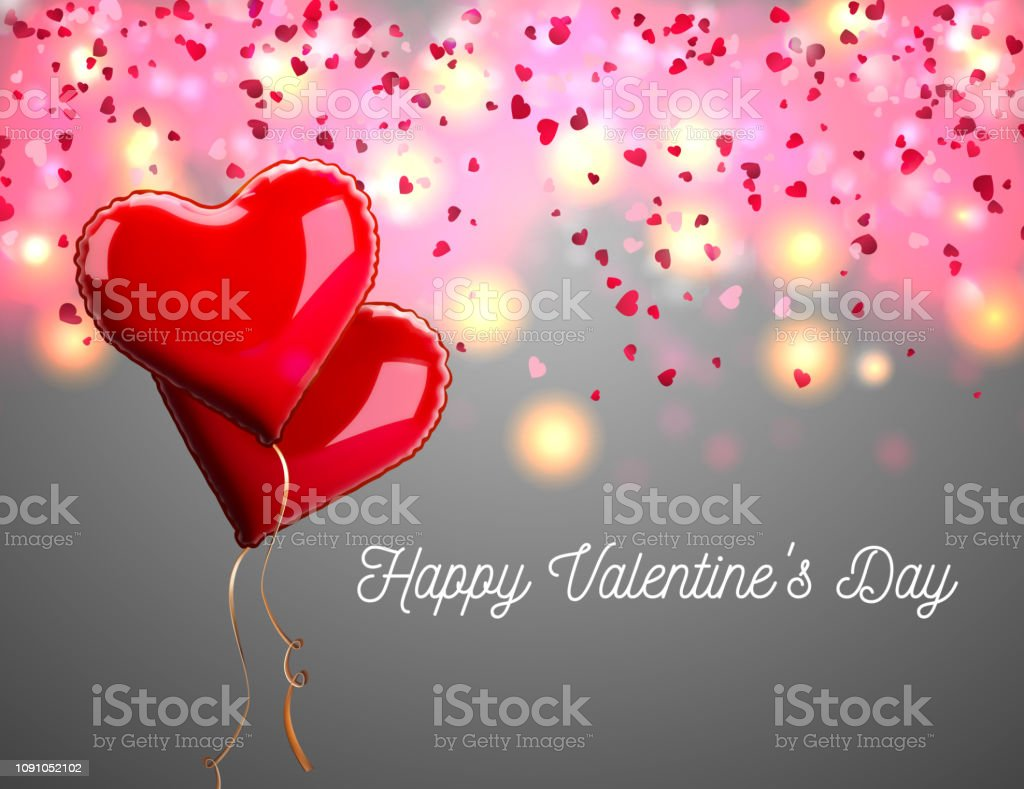Royalty Free Happy Valentines Day On Red Glitter Heart
