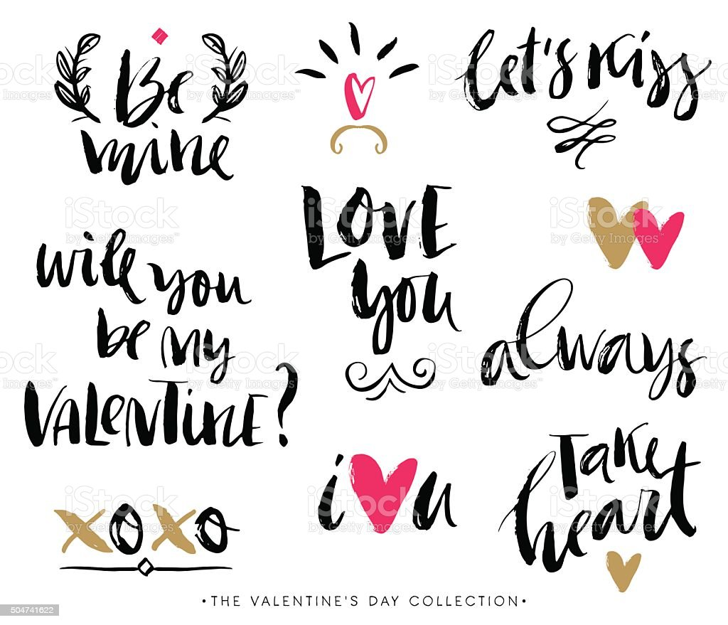 Valentines Day Calligraphic Phrases Hand Drawn Design