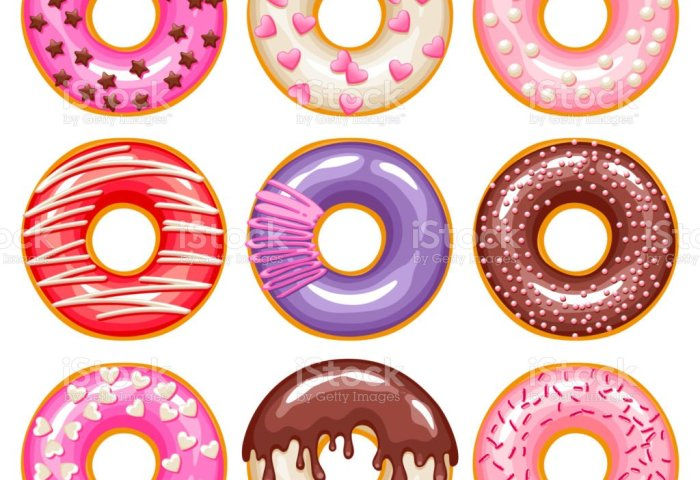 Valentines Day Donuts Icons Set Sweet Bakery Vector Stock Vector Art