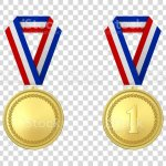 Vector 3d Realistic Gold Award Medal Icon Set With Color Ribbon Closeup Isolated On Transparent Background Design Template Mockup Blank And The First Place Prize Sport Tournament Victory Concept Stock Illustration