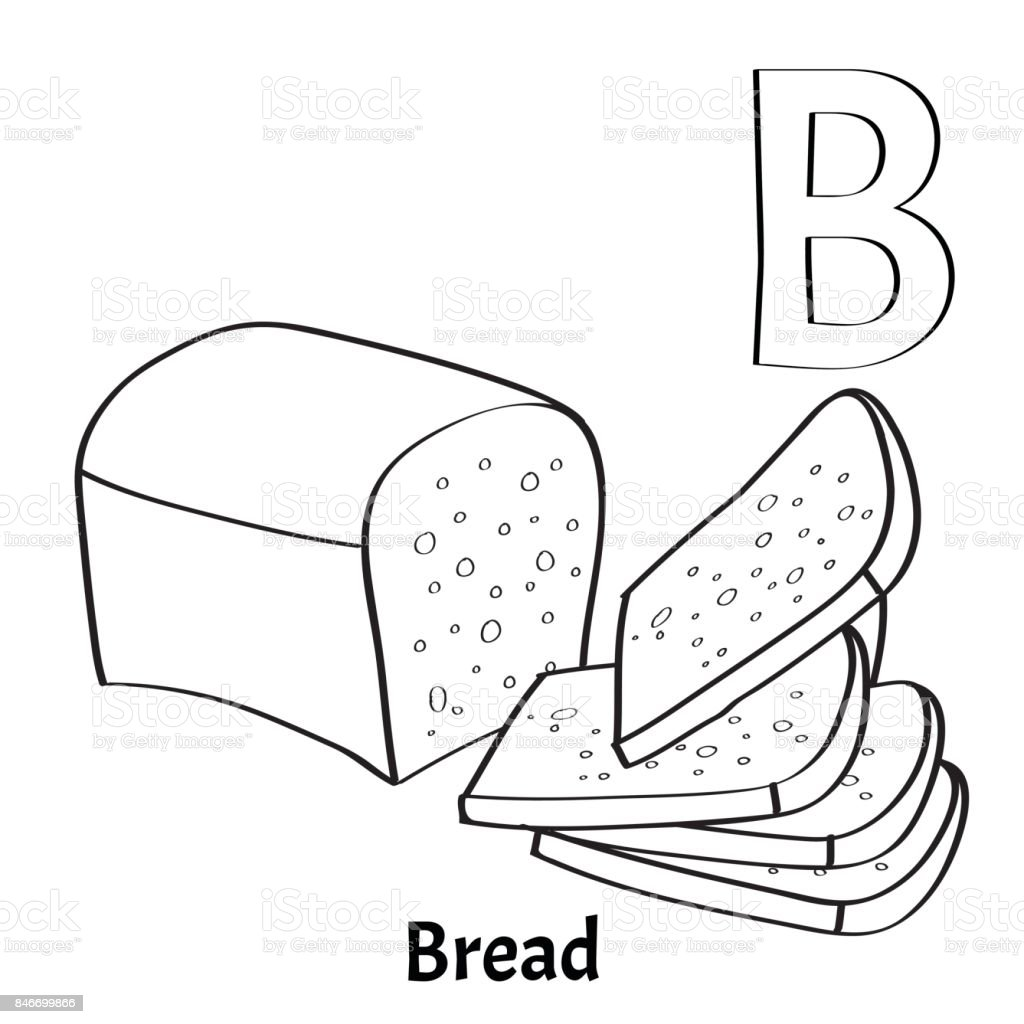 Vector Alphabet Letter B Coloring Page Bread Stock Vector