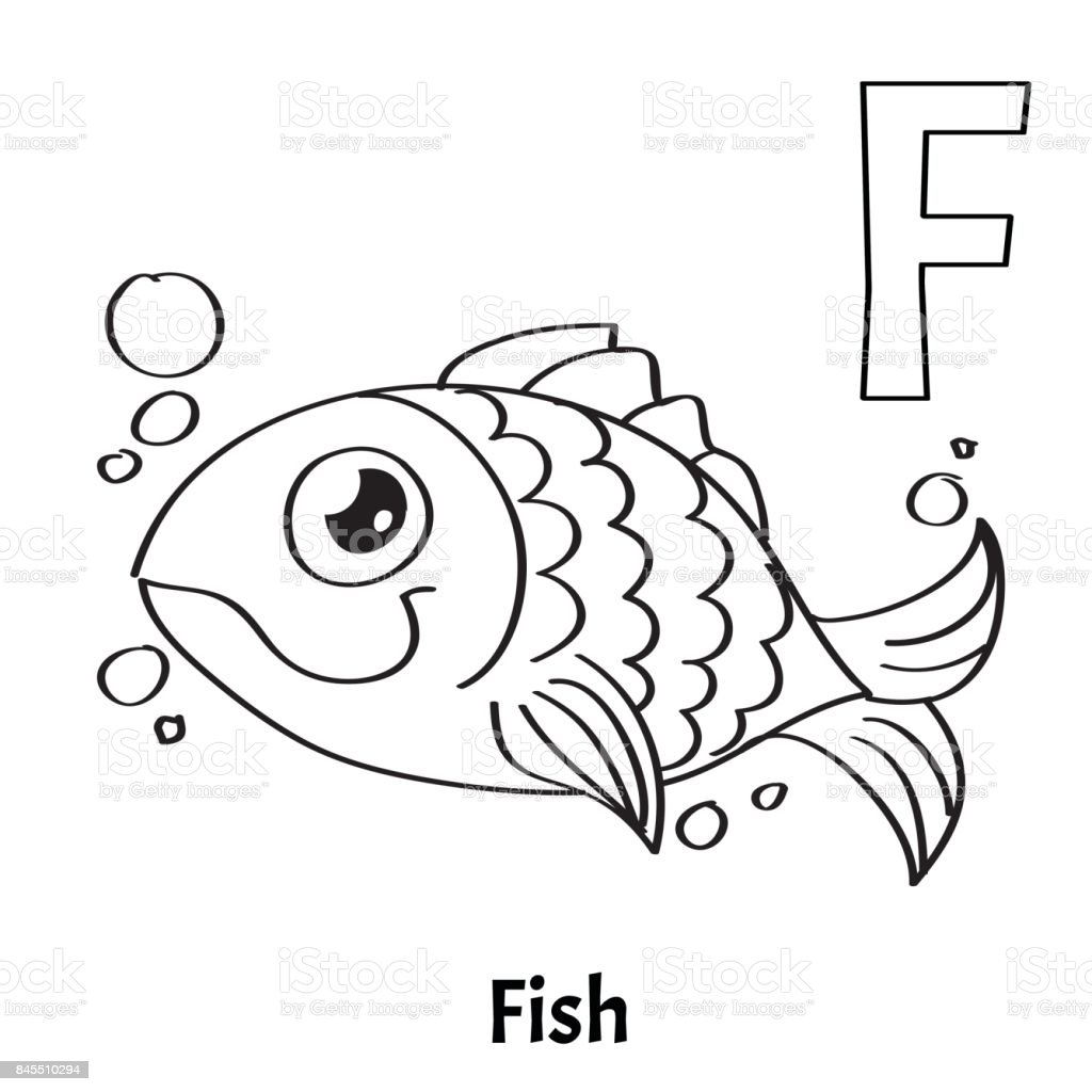 Vector Alphabet Letter F Coloring Page Fish Stock Vector