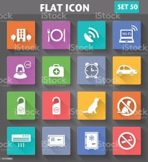 Vector Application Hotel Services And Facilities Icons Set