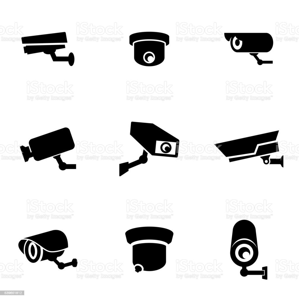 Vector Black Security Camera Icon Set Stock Vector Art