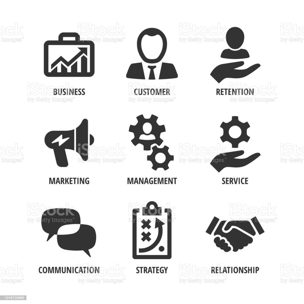 Vector Business Shape Icon Set With Customer Retention
