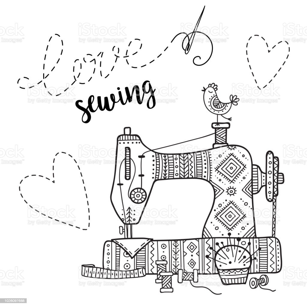 Vector Card With Sewing Machine And Lettering Stock Vector