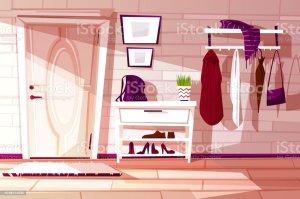 cartoon background indoor hallway vector furniture illustration apartment belarus carpet bag decor