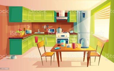 Vector Cartoon Illustration Of Kitchen Interior Stock Illustration Download Image Now iStock