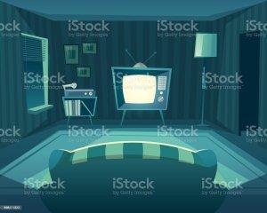 cartoon living tv night vector interior illustration sofa background royalty illustrations vinyl player vectors hall watching clip window cinema clipart