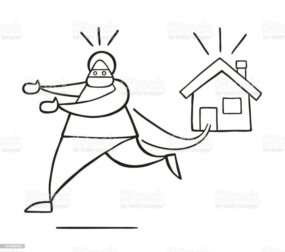 medium resolution of vector cartoon thief man with face masked running away from house royalty free vector cartoon