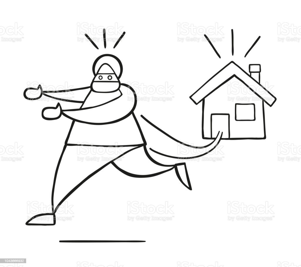 hight resolution of vector cartoon thief man with face masked running away from house royalty free vector cartoon