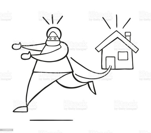 small resolution of vector cartoon thief man with face masked running away from house royalty free vector cartoon