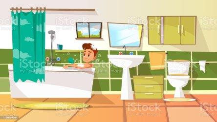 Vector Cartoon Young Man Having Bath In Bathtub Stock Illustration Download Image Now iStock