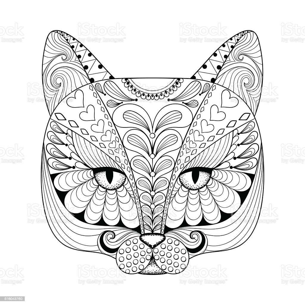 Vector Cat Print For Adult Coloring Page Stock Vector Art