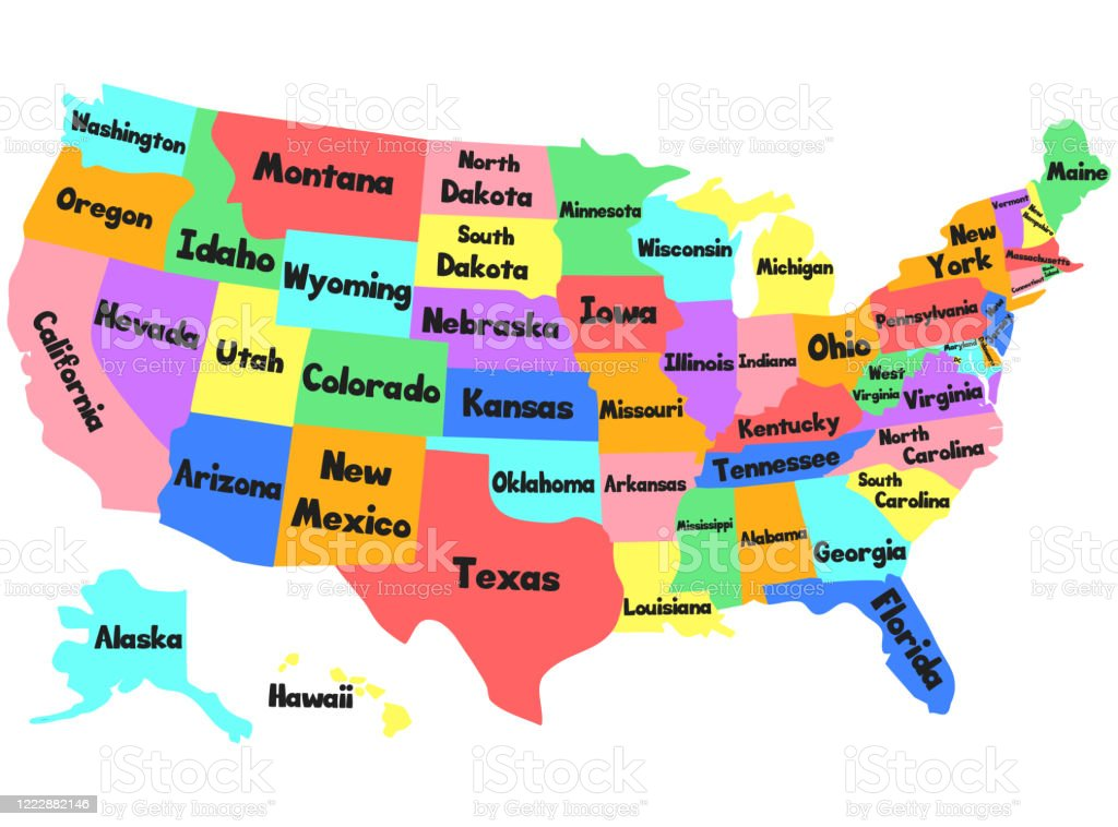 A map legend is a side table or box on a map that shows the meaning of the symbols, shapes, and colors used on the map. Vector Children Map Of The United States Of America Hand Drawn Illustration With Usa State Names For Baby Poster For Nursery Wall Decor Study Decoration School Stock Illustration Download Image Now