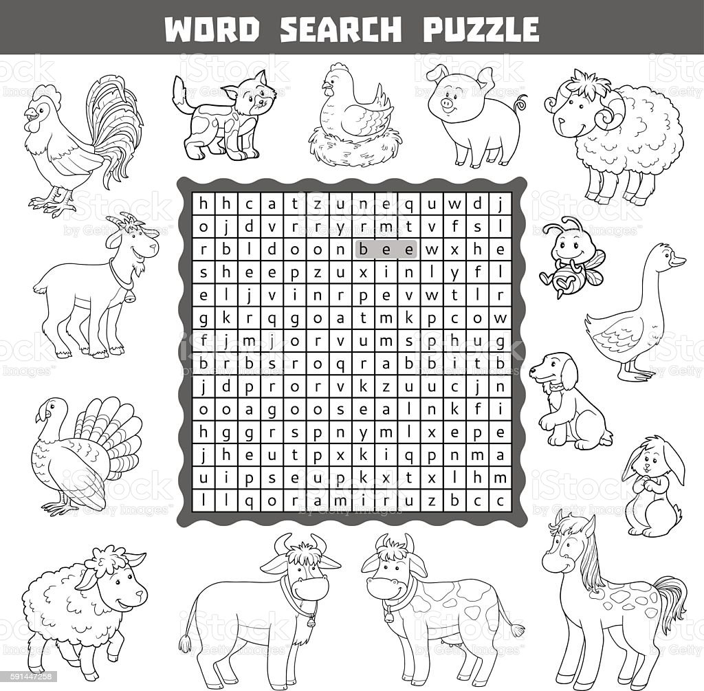 Vector Colorless Crossword About Farm Animals Word Search