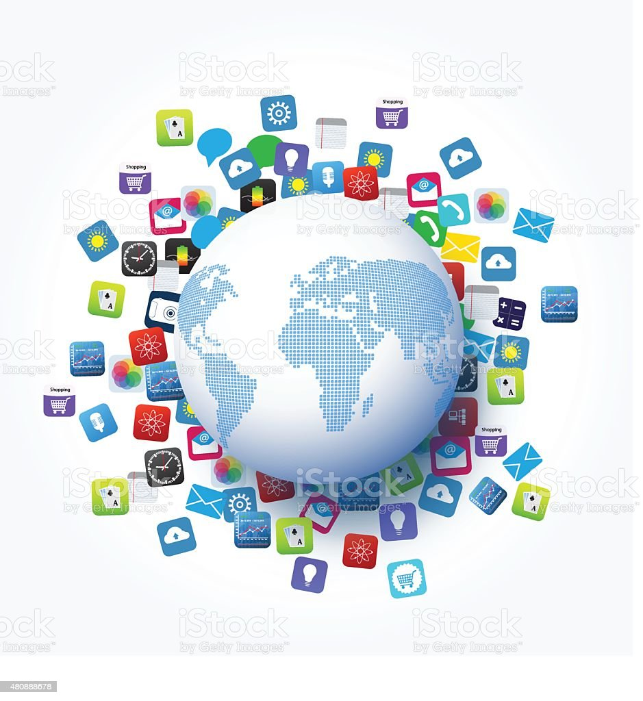 hight resolution of vector design global network and application icon technology concept royalty free vector design global network