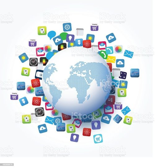 small resolution of vector design global network and application icon technology concept royalty free vector design global network
