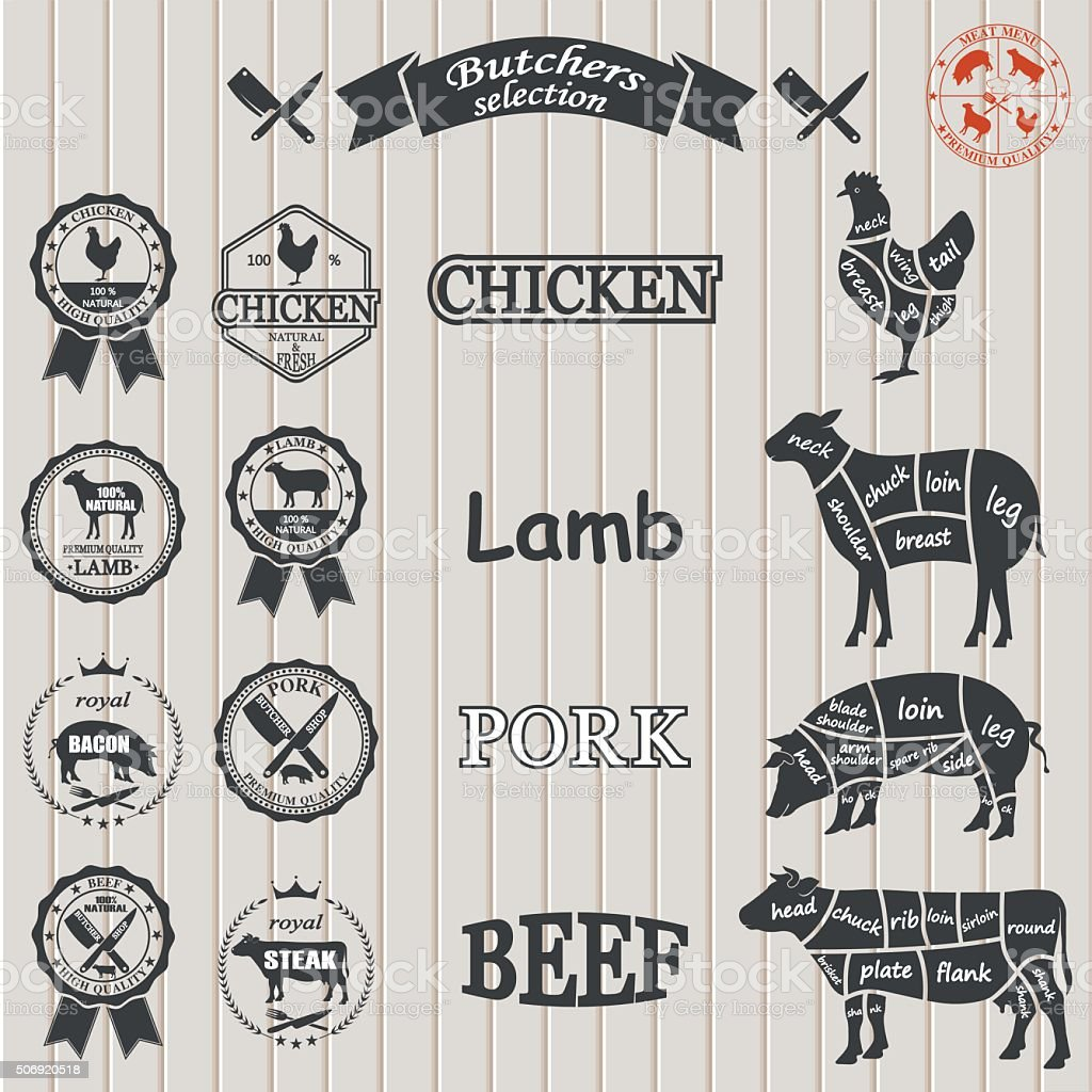 hight resolution of vector diagram cut carcasses of chicken pig cow lamb royalty free