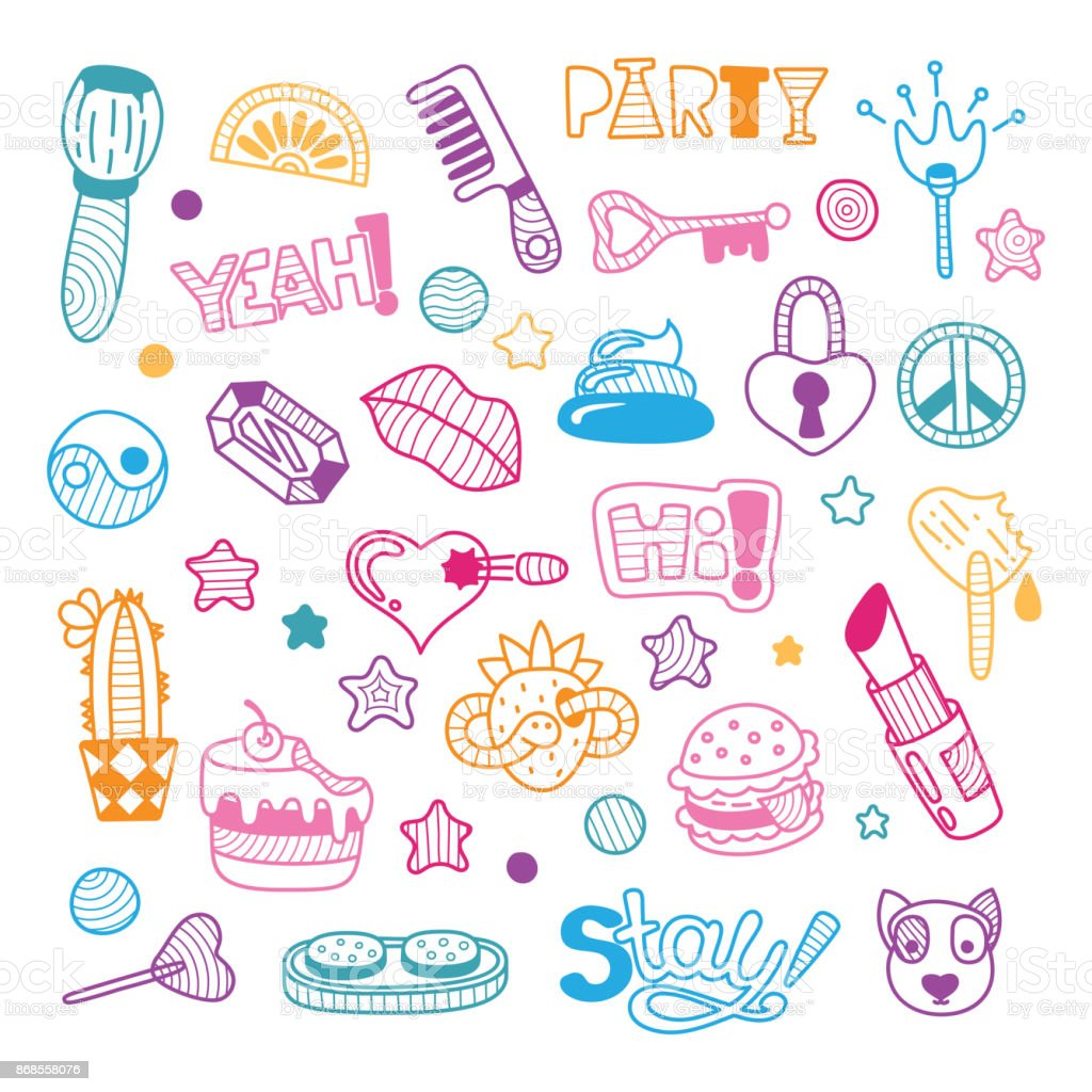 hight resolution of vector doodle girly party and celebration clipart lineart elements set illustration