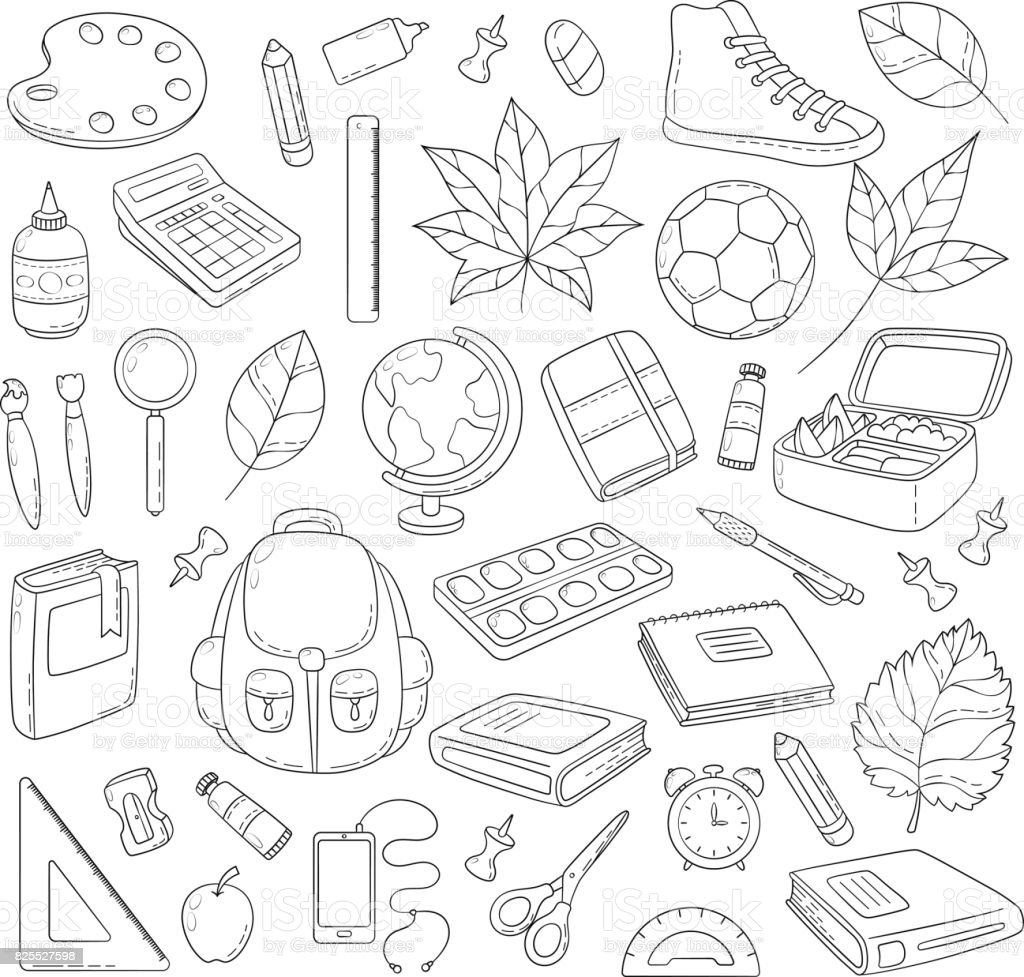 Vector Doodle Icons Collection School Supplies Back To