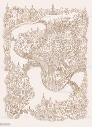 medieval landscape urban fantasy vector european sketch street fairy coloring adults town tale buildings print drawn hand doodle beige tee
