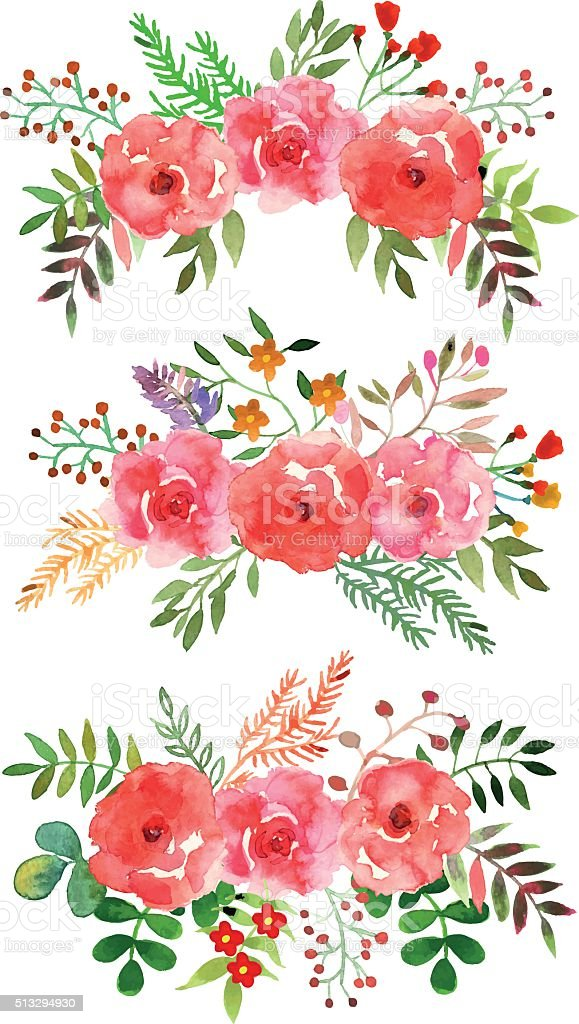 Orange Fall Peonies Wallpaper Vector Floral Set With Watercolor Flowers Stock Vector Art