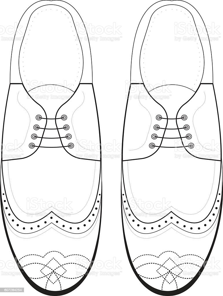 Vector Hand Drawing Illustration With Men Fashion Shoes