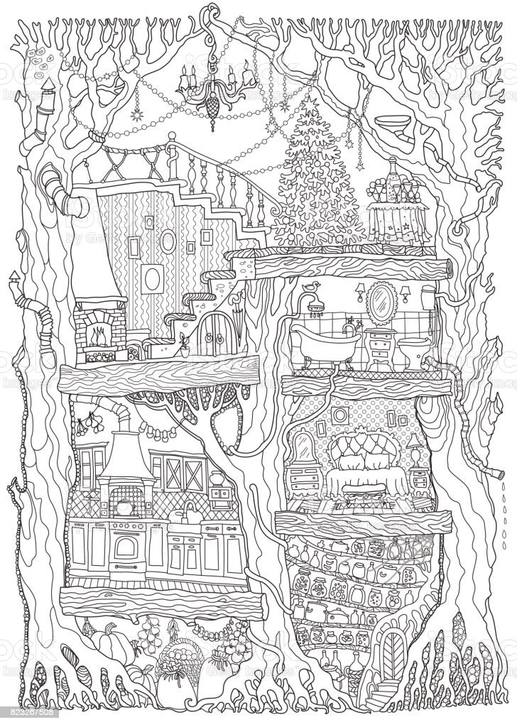 Vector Hand Drawn Fantasy Old Oak Tree With Fairy Tale