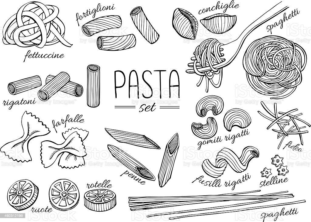 Vector Hand Drawn Pasta Set Vintage Line Art Illustration