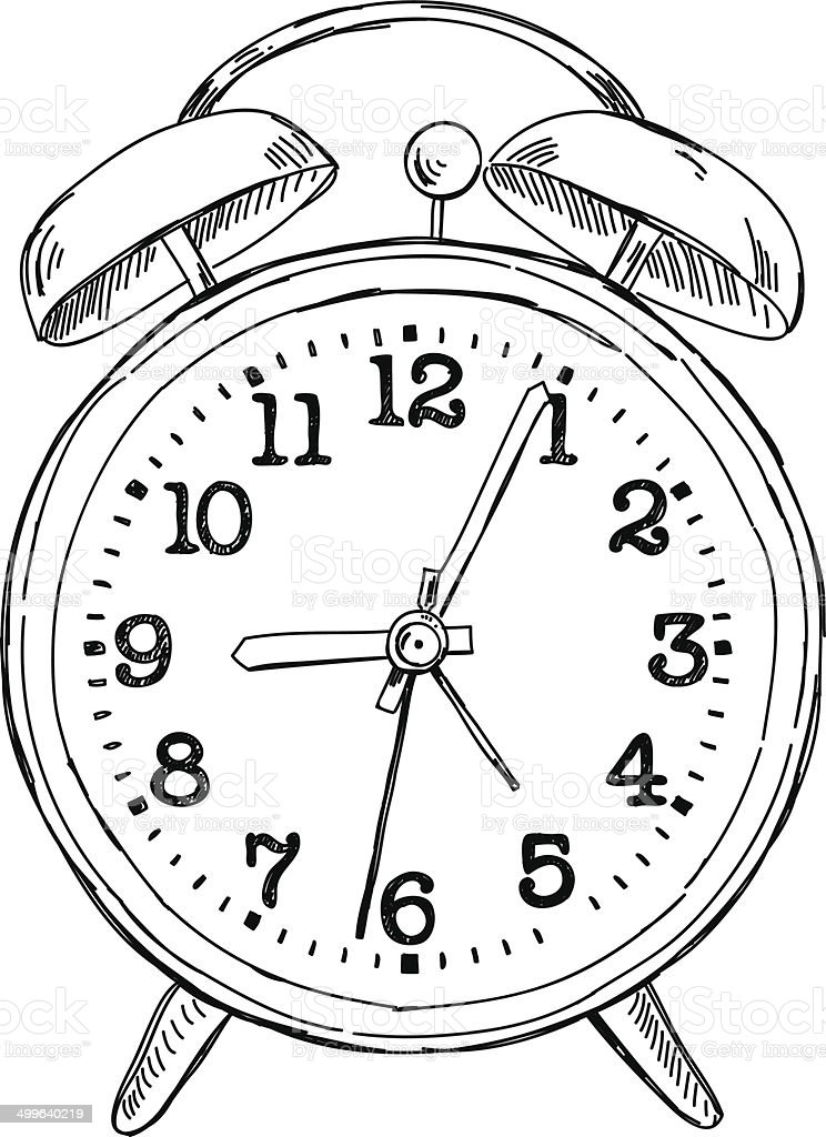 Vector Hand Drawn Sketch Alarm Clock Stock Illustration
